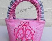 Little Girls Bag with Ballet Shoes Applique Design