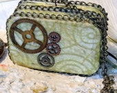 SALE, Steam Punk, Metal Purse, 2 compartment, credit card case
