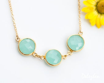 Aqua Blue Chalcedony Necklace - Sea foam green Necklace - Bezel Gemstone Connecters - Gold Necklace - Wedding Jewelry