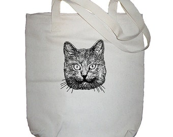 Cat Bag - Cat Face Market Bag - Cat Tote - Made in USA - Gift Friendly