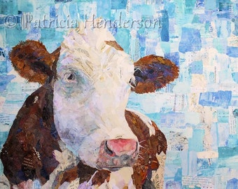 "LACTOSE TOLERANT Original Collage Cow Painting 18 X 24"" on Gallery Wrapped Canvas"