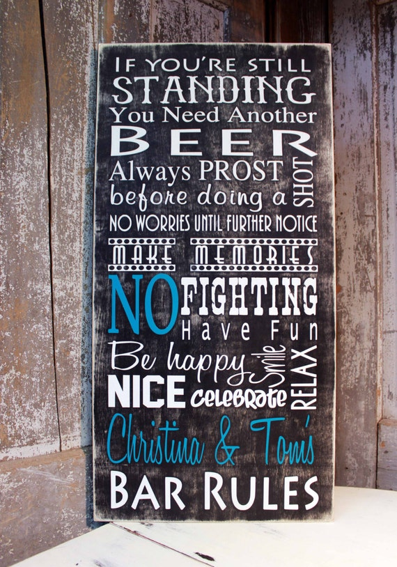 Personalized Man Cave Bar Signs : Items similar to personalized bar rules sign man cave