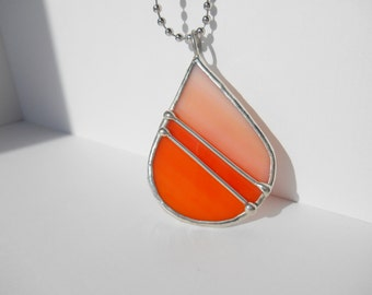 Orange peach stained glass teardrop pendant wire design one of a kind