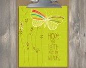 Christian Gift, Scripture art, Flying Above - Hope and Faith, Christian art print