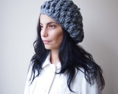 Crochet pattern women hat, chunky beret  slouchy woman puff hat, PDF, photo tutorial, Instant download