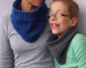 Basic cowl PDF crochet PATTERN neckwarmer loop scarf child girl boy man woman family DIY photo tutorial Instant download