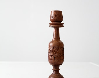 vintage carved wood candle holder