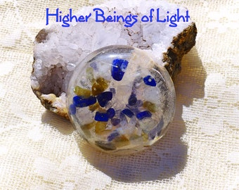 Higher Beings of Light Round Orgonite Disc -Accessing Higher Realms Beings of Light Knowledge Wisdom Teachings - Psychic Protection