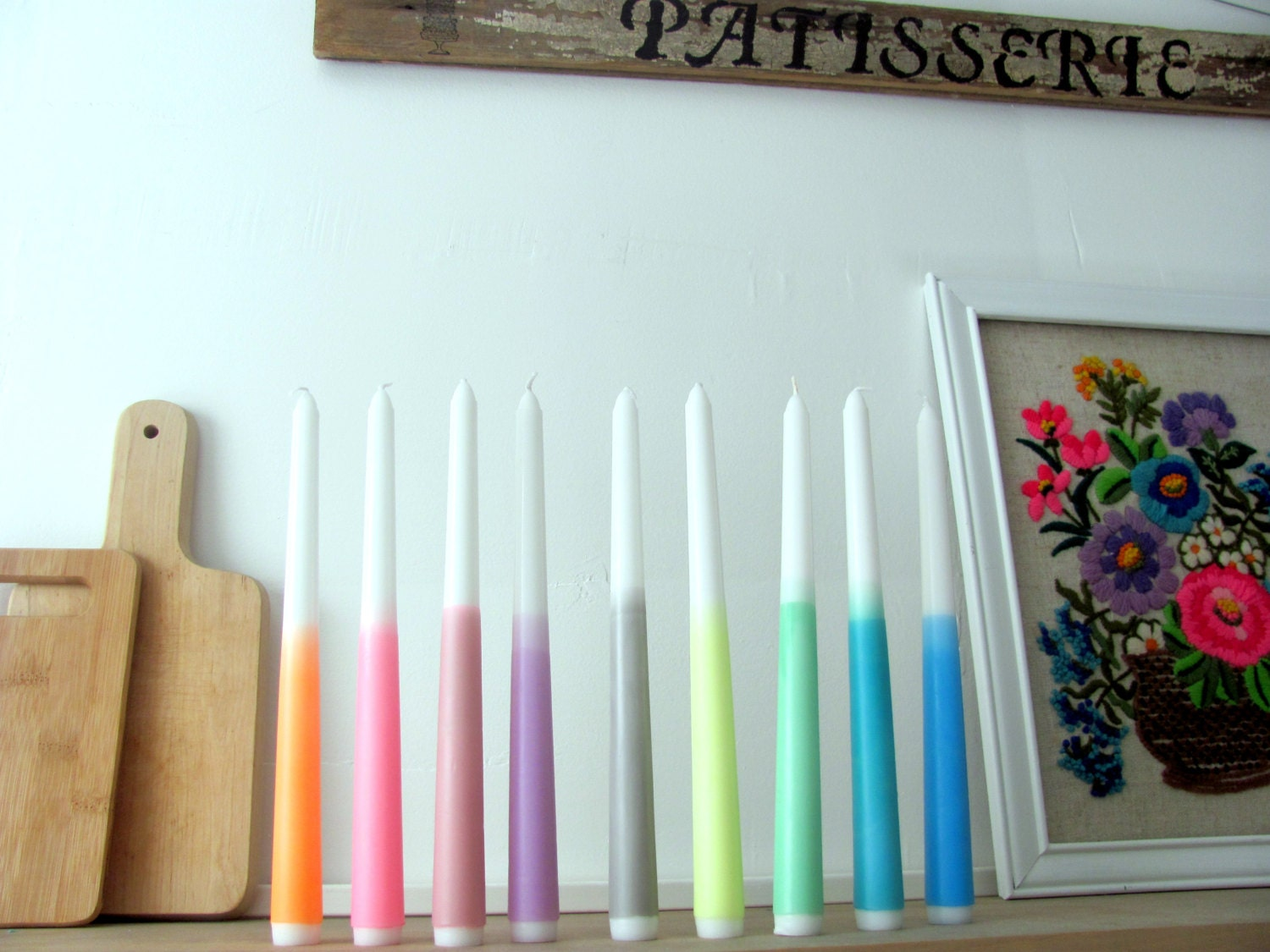 3 Dip Dye Ombre Candles Neon Party Supplies-taper by ebwhandmade