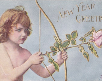 Cupid Takes Aim- 1900s Antique Postcard- New Years Greetings- Roses For Arrows- Edwardian Art Card- Ullman Mfg Co.- Paper Ephemera- Used