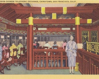 Chinese Telephone Exchange- 1930s Vintage Postcard- Chinatown, San Francisco, California- Interior View- Souvenir Card- Paper Ephemera