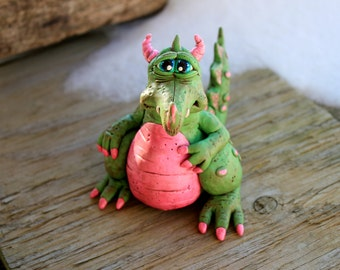 Spring Dragon Polymer Clay Sculpture