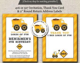 Dump Truck Invitation,  Thank You Card, Return Address Labels   Dump Truck Birthday Party Printables   digital printable