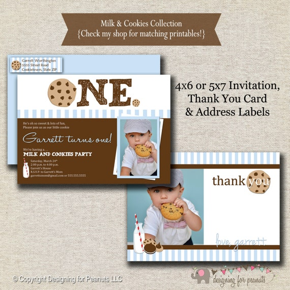 milk and cookies invitation thank you card return address