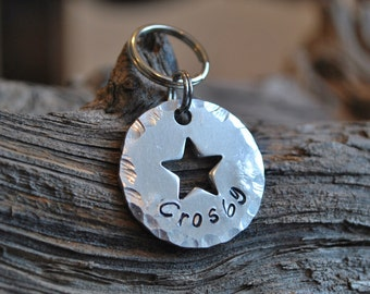Dog ID Tag, Pet Tag, Pet ID Tag, Aluminum Tag, Personalized ID Tag, Collar Charm, Pet Charm, Star Keychain,  Star Id Tag