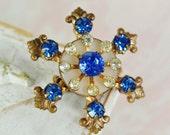 Vintage Sapphire and Rhinestone Snowflake Brooch