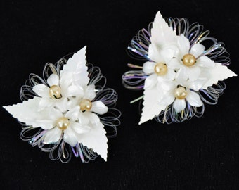 Vintage Clip-On Earrings of Plastic Flowers and Pearls Made in Western Germany