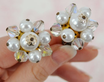 Vintage Clip-On Earrings with White Faux Pearls and Glass Beads