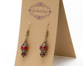 Super pretty red glass bead earrings with filigree - special holiday price!  gifts under 10