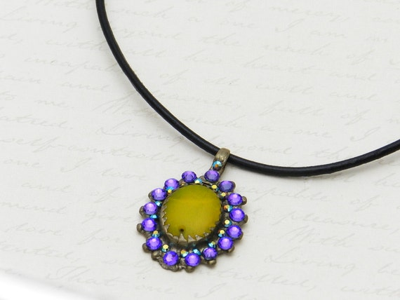 Vintage Kuchi Necklace with original yellow glass centerpiece - embellished with sparkly purple Swarovski crystals