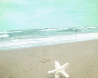 Beach Starfish Photograph, Teal Sea Green Beige print, Little starfish, seashore, Ocean Treasures 8x8 and up