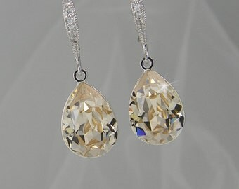 Crystal Bridal Earrings, Crystal Drop Wedding Earrings, Champagne Swarovski bridal jewelry,  Bridesmaid jewelry,  Crystal Drop Earrings