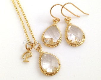 Clear Glass Teardrop Jewelry Set - Gold Trim Sparkling Transparent Bridesmaids Necklace and Earrings Letter Initials Personalized Necklace