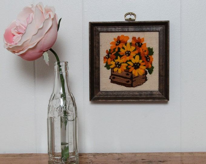 Flower Pot Framed Needlepoint | Yellow and Orange Basket Floral Arrangement | 6.5x6.5 | Vintage Kitsch Cross-Stich Embroidery Frame Wall Art