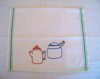 Vintage Hand Embroidered Kitchen Towel
