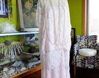 Vintage wedding dress 1920s Flapper style Great Gaysby wedding dress lace wedding dress