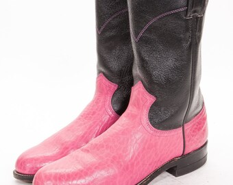 Roper Boots womens Size 6.5 B  Justin 2 Tone Pink and Black