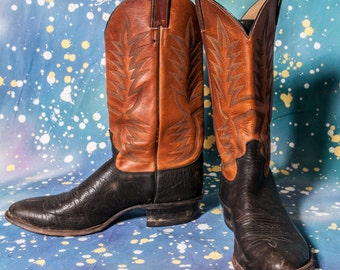 Two Tone JUSTIN Men's COWBOY Boot Size 11 .5