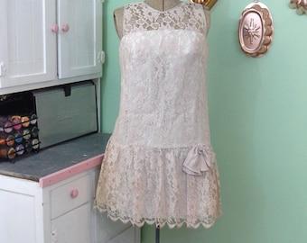 Vintage Dropwaist Lace Dress - XS Vintage Dress - Lace Dress - Mid Century Lace Party Dress