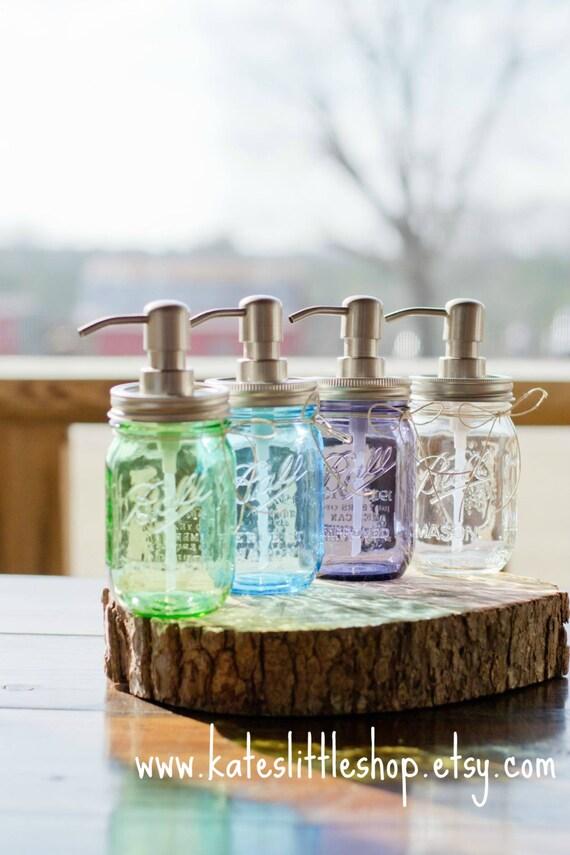 Mason Jar Soap Dispenser. Vintage Purple. Vintage Blue. Vintage Green. Clear Ball Soap Dispenser. Home Decor. Rustic Home Decor. Bathroom.