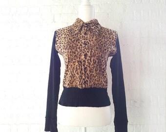 Leopard Skin Faux Fur Shirt 90s Vintage Jean Colonna France Black Cotton Fake Fur French Club Kid Rockabilly Small Shirt Mod Cropped Sweater