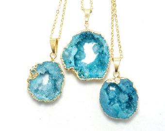 Natural Ocean Blue Gold Edged Druzy Slice Necklace - Raw Crystal Druzy Necklace - Blue Druzy Necklace - Wedding Jewelry Idea - Gift Idea