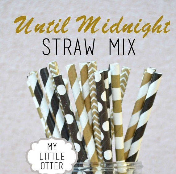Black and Gold Paper Straws - Until Midnight Straw Mix -25 Striped Chevron Drinking Straws 5 Designs Vintage Wedding Baby Shower Engagement