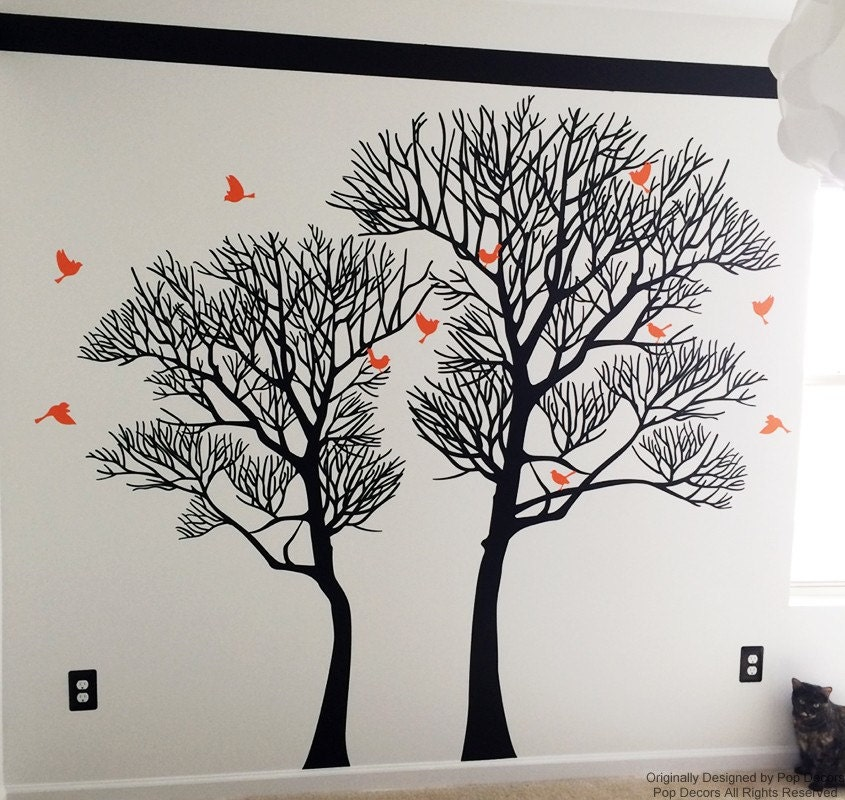Nature Wall Decor Stickers : Trees wall decals art nature tree murals living room