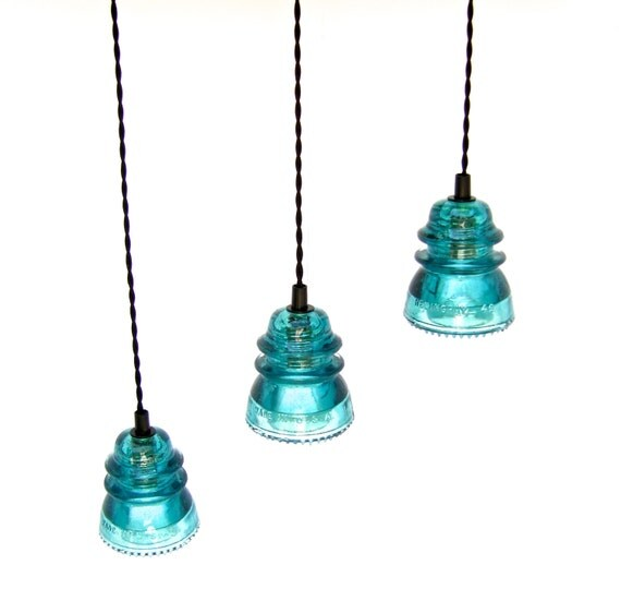 Industrial glass insulator pendant light by divinediscoveries for Insulator pendant light