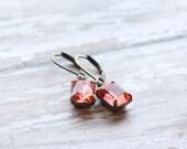 NEW Pinky Coral Rhinestone Dangle Earrings - Teal Bridesmaid Earrings - Flowergirl Earrings - Vintage- Bridal Jewelry - Coral Earrings Blush