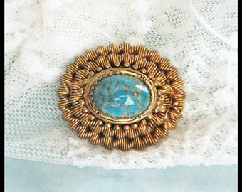 Gold and Turquoise Brooch / Oval Pin / Costume Jewelry / Lapel Pin / Goldtone Metal / 1970s / December Birthstone
