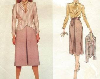 80s Bill Kaiserman Womens One Button Jacket, Skirt and Blouse Vogue Sewing Pattern 2365 Size 10 Bust 32 1/2 Vogue American Designer
