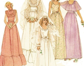 70s Womens Bridal Dress Wedding Gown with Cape McCalls Sewing Patterns Size 14 Bust 36 Boho Wedding Dress Vintage Sewing Patterns