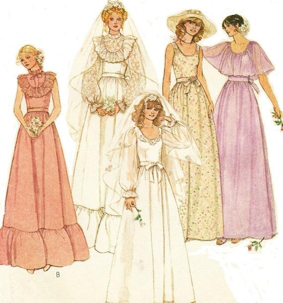 70s McCalls Sewing Patterns Womens Bridal Dress By CloesCloset