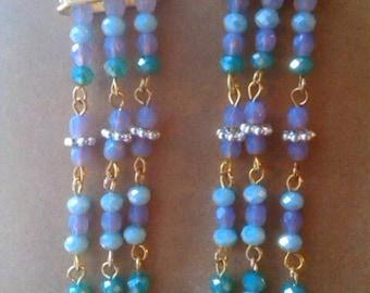 Beaded Mermaid Chandelier Earrings ooak