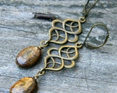 Bohemian earrings bronze dangle earrings earthy bohemian jewelry handmade beaded jewelry fall fashion nature inspired jewelry boho