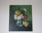 French Vintage Painting of Flowers Dahlias Shabby Chic Signed by Artist