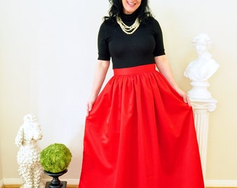 Red Duchess Satin Ball Gown Skirt Custom made long full pleated and gathered Full Length Maxi skirt