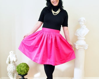 Pink Skirt in Matte Duchess Satin Full, gathered skirt with full, classic, preppy, style custom made to order also in plus size