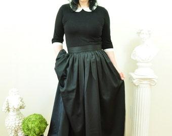 Black Duchess Satin Ball Gown Skirt long full pleated or gathered Full Length Maxi skirt also in Plus size Custom made